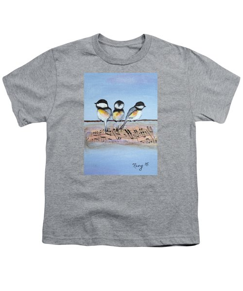 Chirpy Chickadees Youth T-Shirt by Roxy Rich