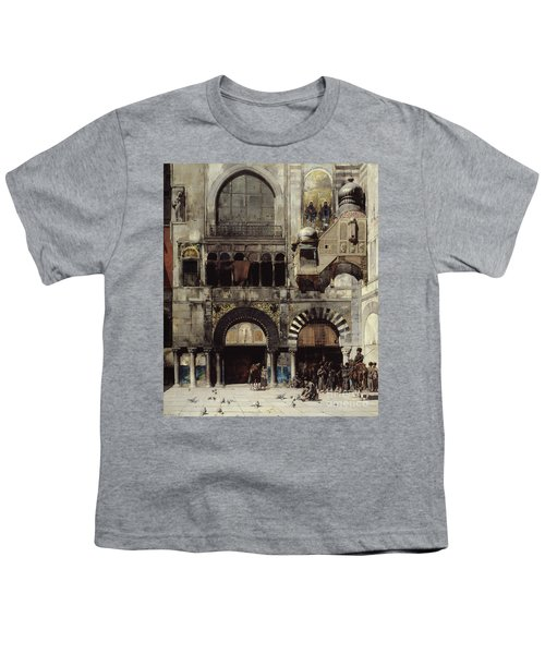Circassian Cavalry Awaiting Their Commanding Officer At The Door Of A Byzantine Monument Youth T-Shirt by Alberto Pasini