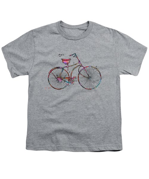 Colorful 1890 Bicycle Patent Minimal Youth T-Shirt