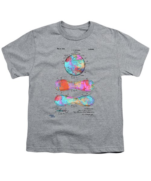 Colorful 1928 Baseball Patent Artwork Youth T-Shirt