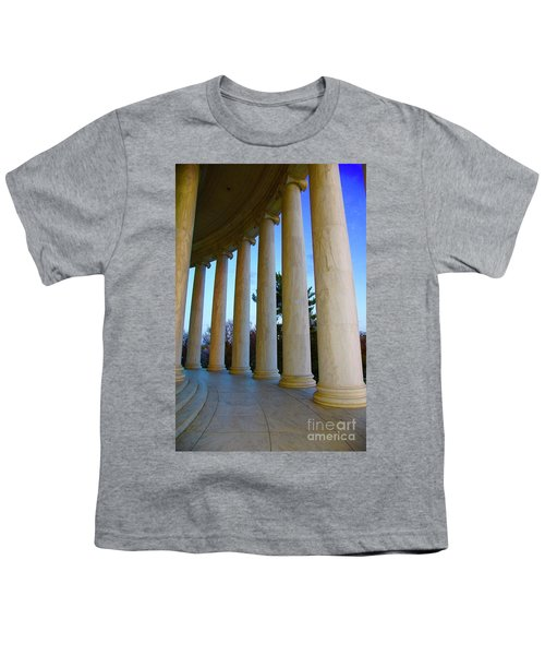 Columns At Jefferson Youth T-Shirt by Megan Cohen