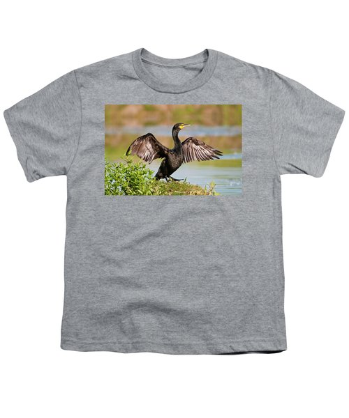 Double-crested Cormorant Youth T-Shirt by Gary Lengyel