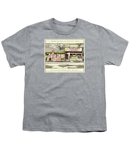 Youth T-Shirt featuring the painting Eastside Market by Chholing Taha
