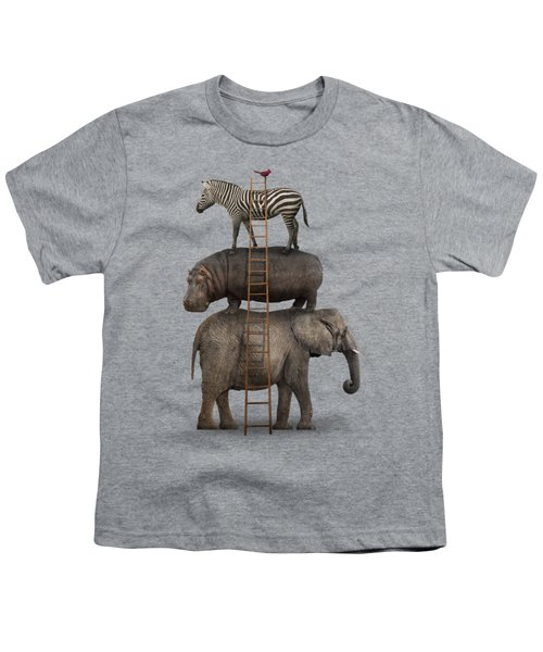 Elephant, Hippo, Zebra Animal Stack With A Cardinal Youth T-Shirt by Greg Noblin