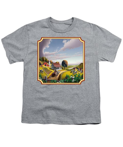 Farm Americana - Farm Decor - Appalachian Blackberry Patch - Square Format - Folk Art Youth T-Shirt by Walt Curlee