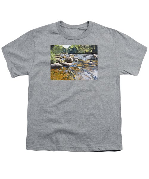 Youth T-Shirt featuring the painting Granite Boulders East Okement River by Lawrence Dyer