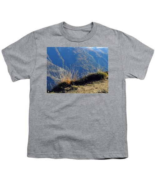 Grass In The Foreground, The Main Valley Of The Swiss Canton Of Valais In The Background Youth T-Shirt