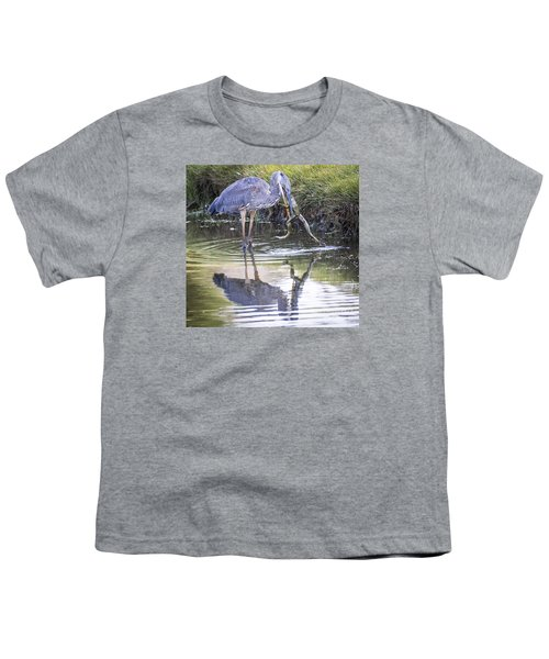 Youth T-Shirt featuring the photograph Great Blue Heron Vs Huge Frog by Ricky L Jones