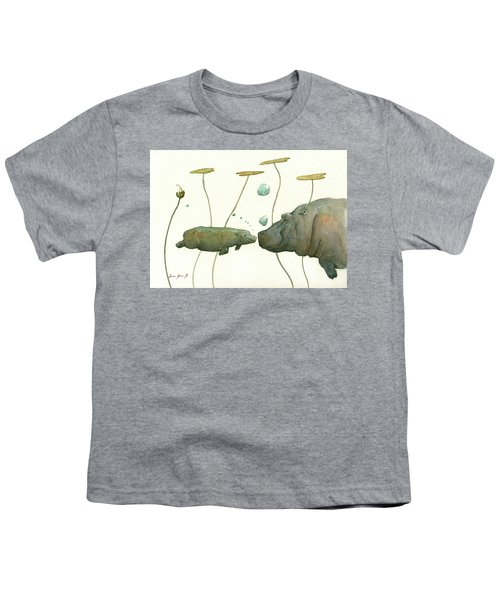 Hippo Mom With Babyv Youth T-Shirt