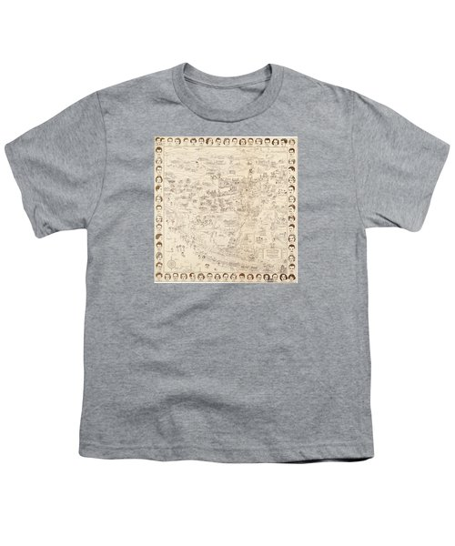 Hollywood Map To The Stars 1937 Youth T-Shirt by Don Boggs