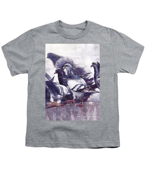 Hungry Pigeons Watercolor Youth T-Shirt