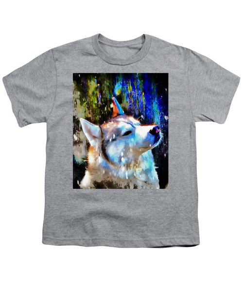 Husky Enjoying The Snow Youth T-Shirt