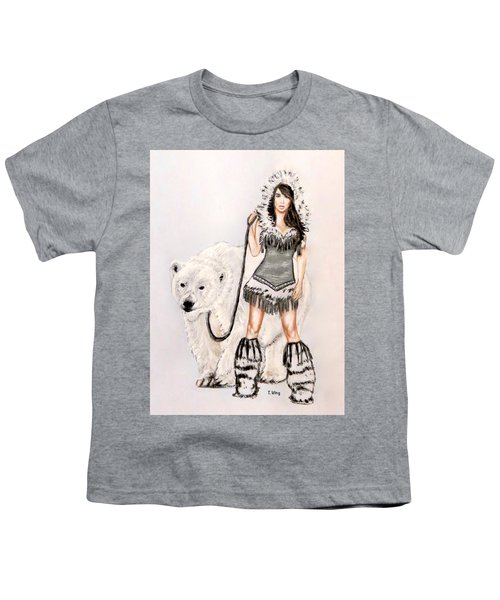 Inuit Pin-up Girl Youth T-Shirt by Teresa Wing