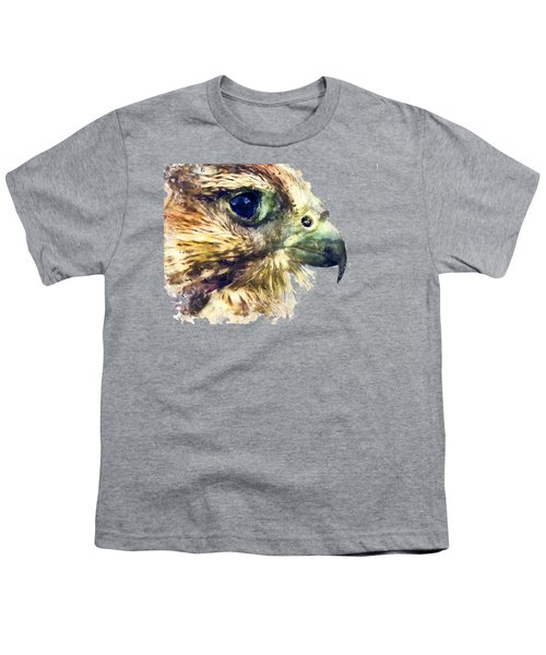 Kestrel Watercolor Painting Youth T-Shirt by Justyna JBJart