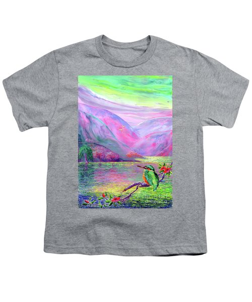 Kingfisher, Shimmering Streams Youth T-Shirt by Jane Small