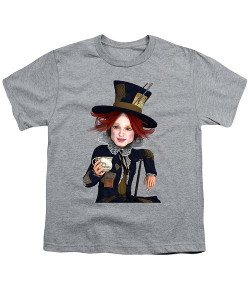 Mad Hatter Portrait Youth T-Shirt by Methune Hively
