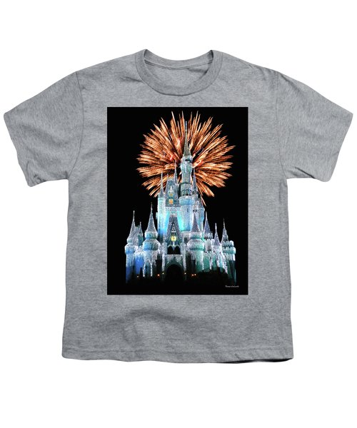 Magic Kingdom Castle In Frosty Light Blue With Fireworks 02 Mp Youth T-Shirt