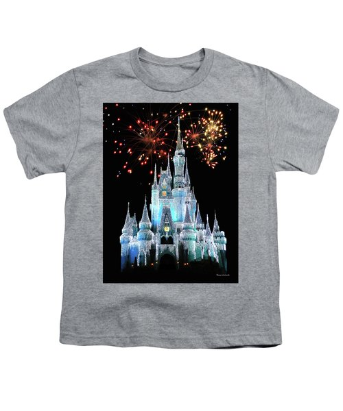 Magic Kingdom Castle In Frosty Light Blue With Fireworks 03 Mp Youth T-Shirt