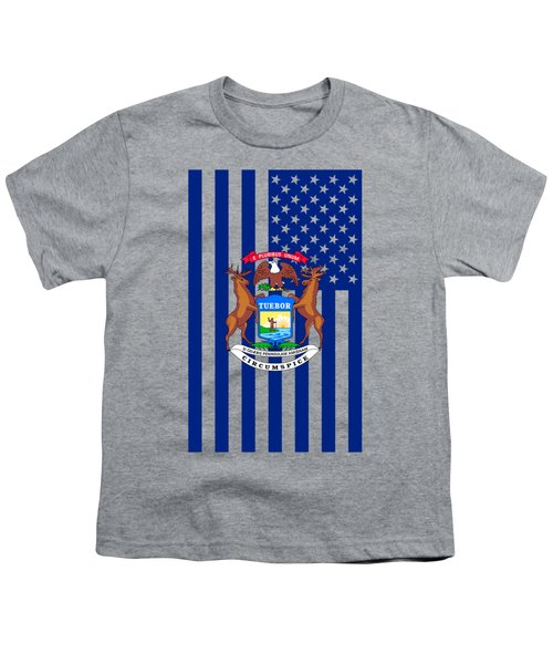 Michigan State Flag Graphic Usa Styling Youth T-Shirt