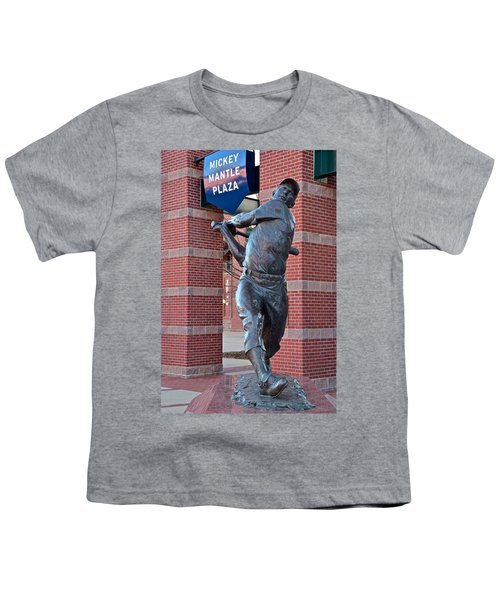 Mickey Mantle Plaza Youth T-Shirt by Frozen in Time Fine Art Photography