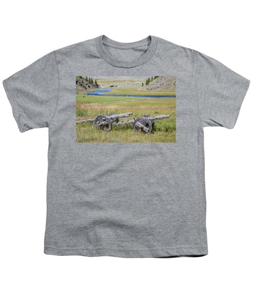 Youth T-Shirt featuring the photograph Mongolian Ox Carts by Hitendra SINKAR