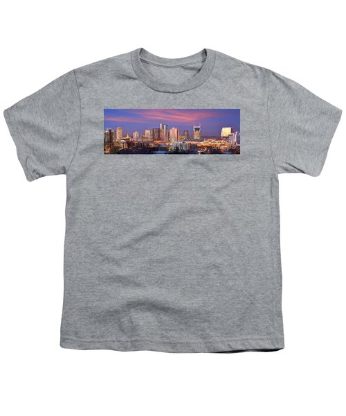 Nashville Skyline At Dusk 2018 Panorama Color Youth T-Shirt