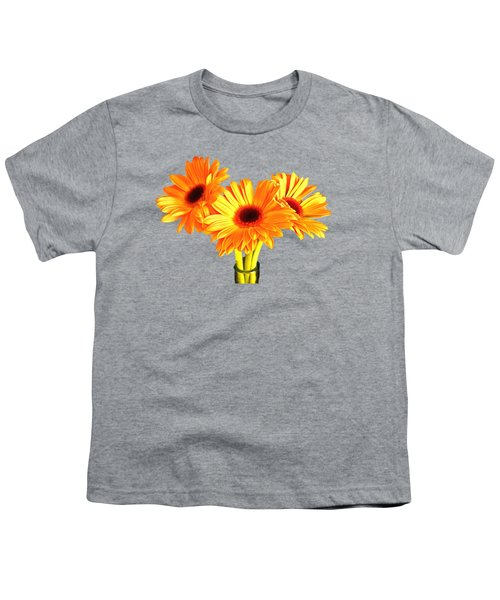 Orange Gerbera's Youth T-Shirt by Scott Carruthers