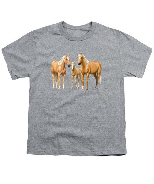 Palomino Horses In Winter Pasture Youth T-Shirt