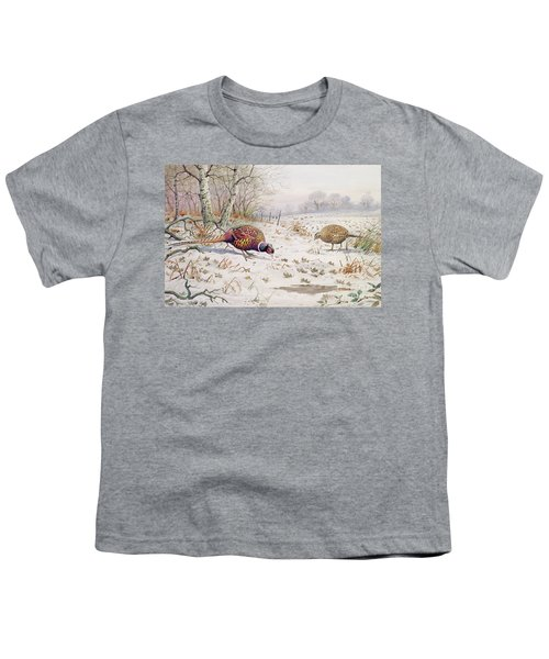 Pheasant And Partridge Eating  Youth T-Shirt by Carl Donner