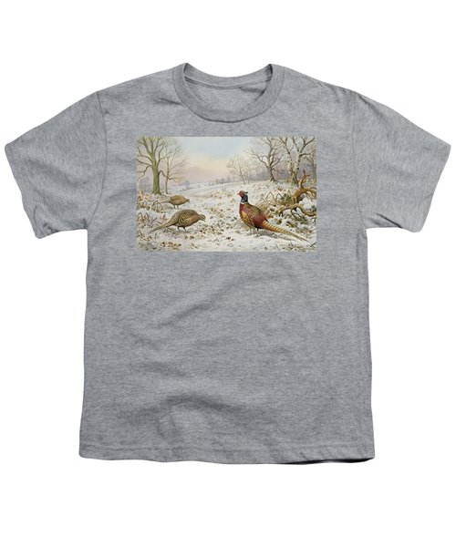 Pheasant And Partridges In A Snowy Landscape Youth T-Shirt by Carl Donner
