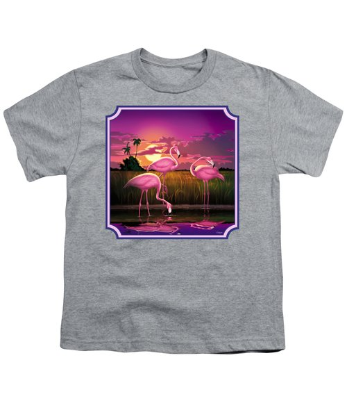 Pink Flamingos At Sunset Tropical Landscape - Square Format Youth T-Shirt by Walt Curlee