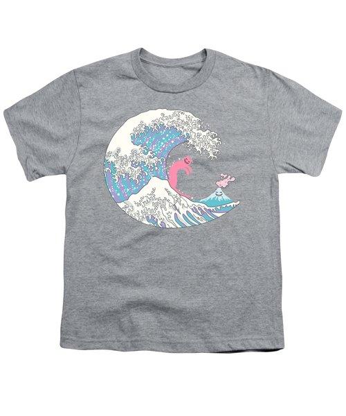 Psychodelic Bubblegum Kunagawa Surfer Cat Youth T-Shirt by Julia Jasiczak