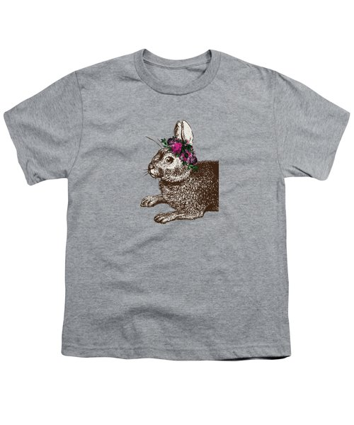 Rabbit And Roses Youth T-Shirt by Eclectic at HeART