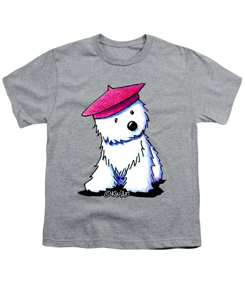 Raspberry Beret Westie Youth T-Shirt by Kim Niles