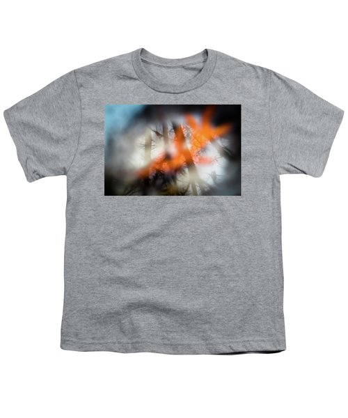 Reflection Of Trees Over An Oak Leaf Encased In Water And Ice Youth T-Shirt