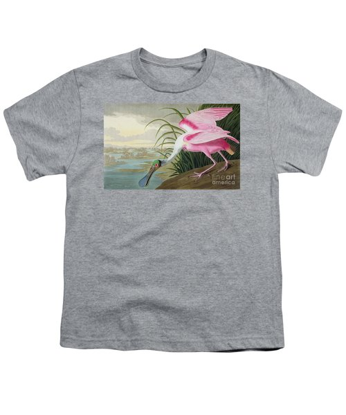 Roseate Spoonbill Youth T-Shirt by John James Audubon