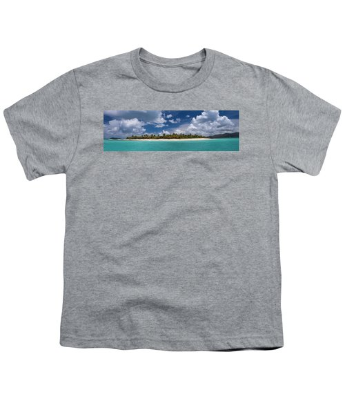 Youth T-Shirt featuring the photograph Sandy Cay Beach British Virgin Islands Panoramic by Adam Romanowicz