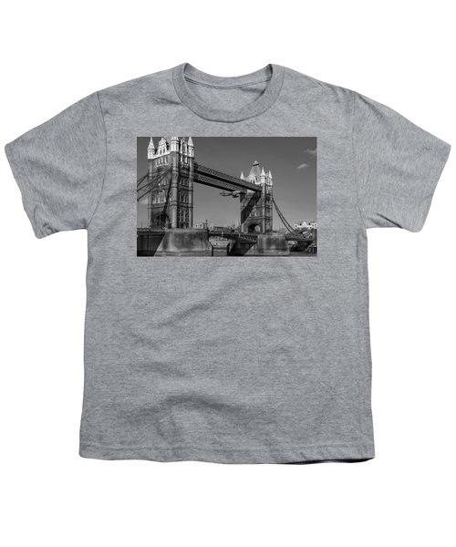 Youth T-Shirt featuring the photograph Seven Seconds - The Tower Bridge Hawker Hunter Incident Bw Versio by Gary Eason