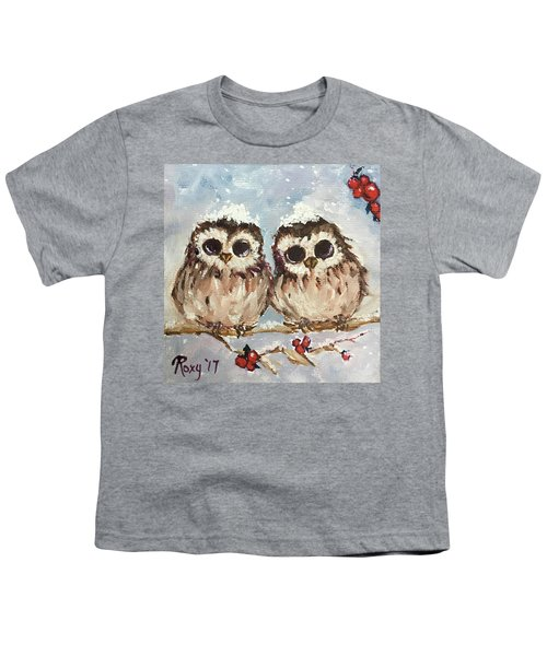 Snowy Owl Chicks In A Holly Tree Youth T-Shirt
