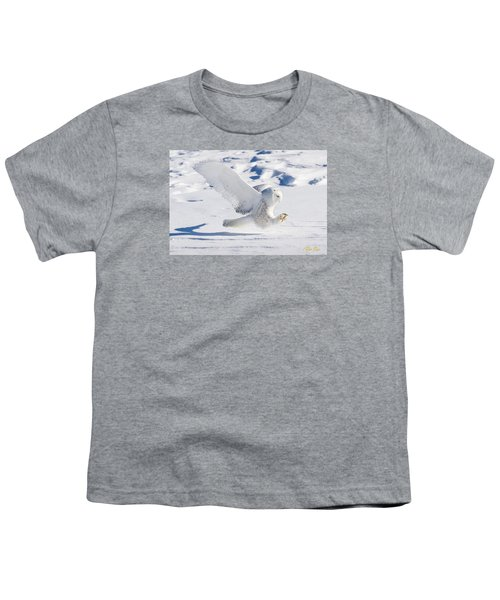 Youth T-Shirt featuring the photograph Snowy Owl Pouncing by Rikk Flohr