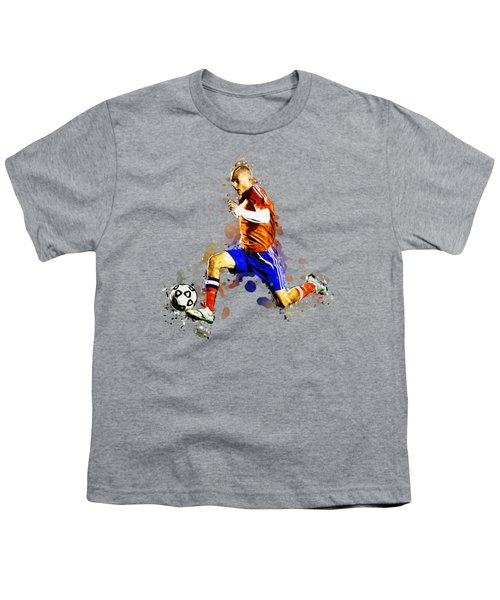 Soccer Player Moving The Ball In Stadium Youth T-Shirt