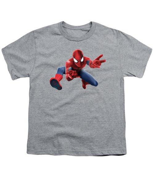 Spider Man Splash Super Hero Series Youth T-Shirt by Movie Poster Prints