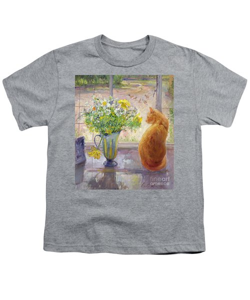 Striped Jug With Spring Flowers Youth T-Shirt by Timothy Easton