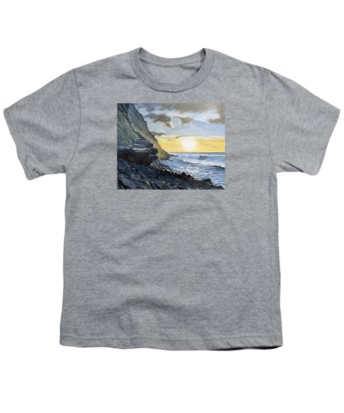Youth T-Shirt featuring the painting Sunset At Warren Point Duckpool by Lawrence Dyer