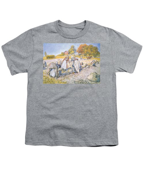 The Children Filled The Buckets And Baskets With Potatoes Youth T-Shirt by Carl Larsson