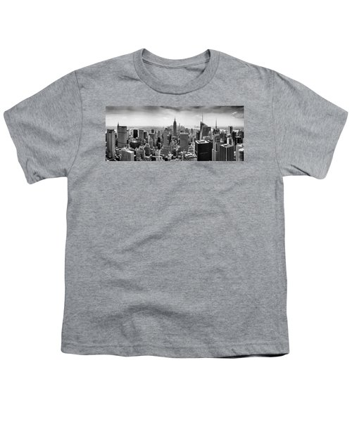 New York City Skyline Bw Youth T-Shirt by Az Jackson