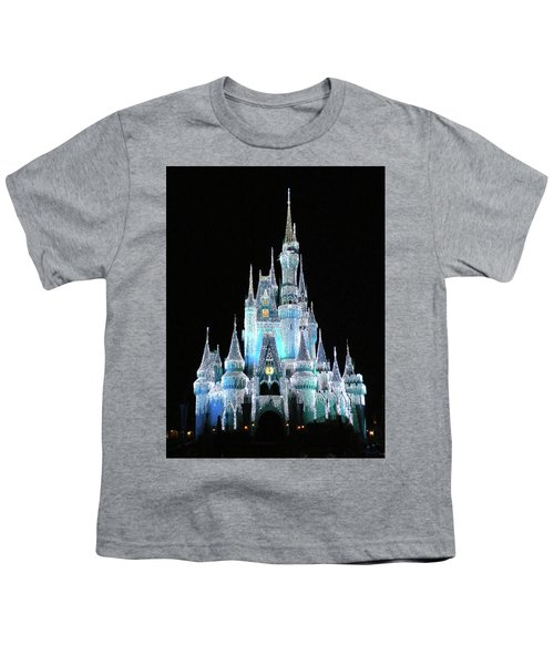 The Magic Kingdom Castle In Frosty Light Blue Walt Disney World Mp Youth T-Shirt