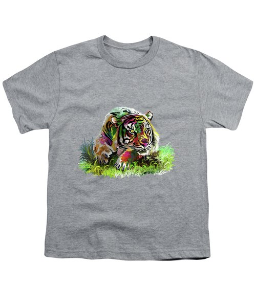 Colorful Tiger Youth T-Shirt by Anthony Mwangi