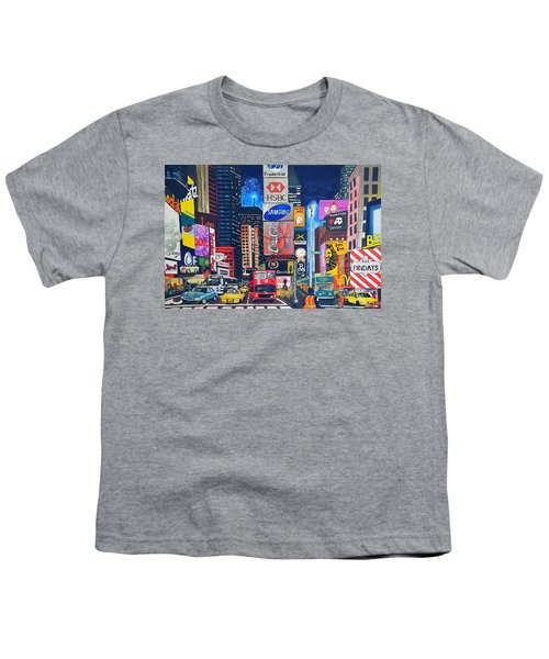 Times Square Youth T-Shirt by Autumn Leaves Art