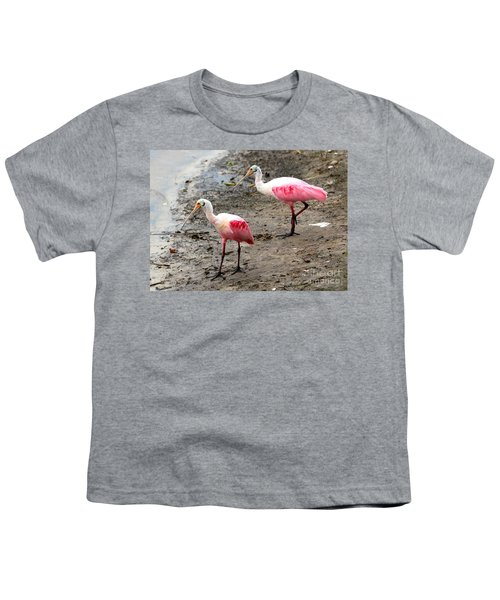 Two Roseate Spoonbills Youth T-Shirt by Carol Groenen